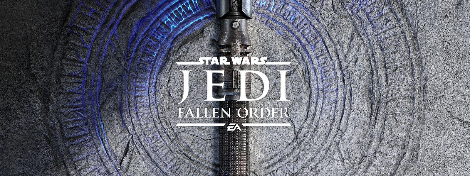 Star Wars Jedi Fallen Order-Logo, leuchtend blaue Risse im Boden mit einem Lichtschwert oben