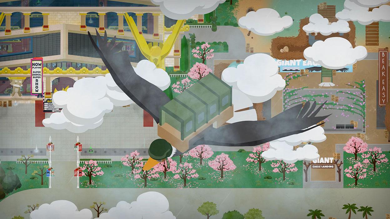 Askeri kask takan ve sırtında asker taşıyıcı araç bulunan kartal şehrin üzerinde uçuyor.
