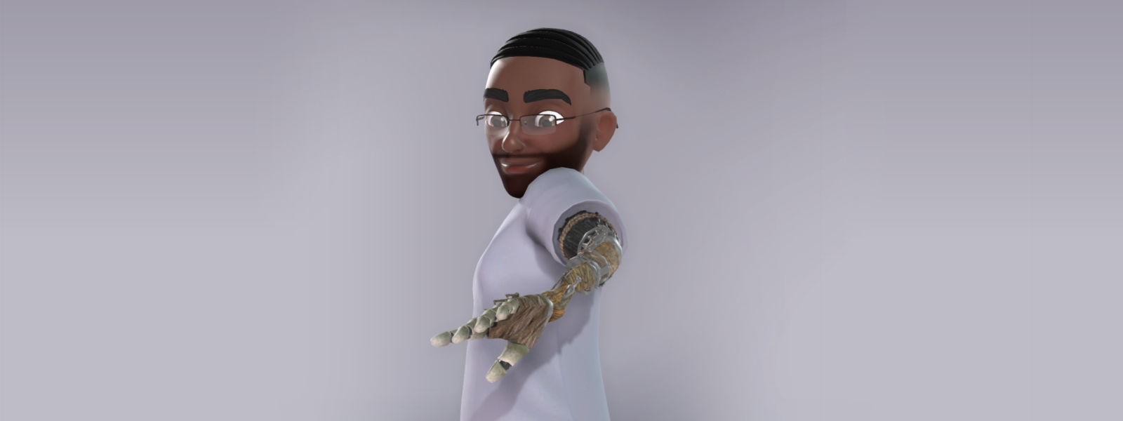 An Xbox avatar character looks at his Prosthetic Arm