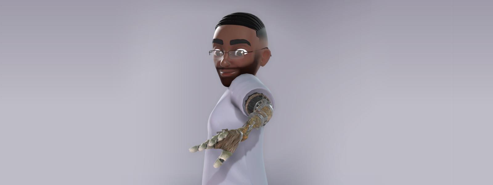 Un personaje avatar de Xbox mira a su brazo prostético