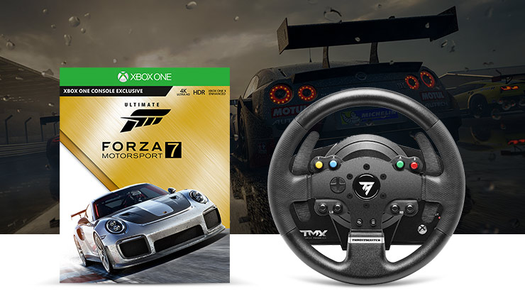 Ultimate Forza 7 Motorsport Boxshot with racing wheel controller