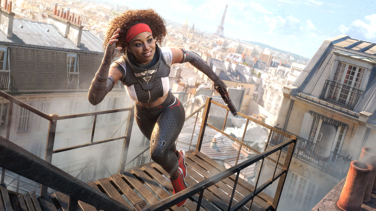 A female Rogue runs on top of roofs in Paris.