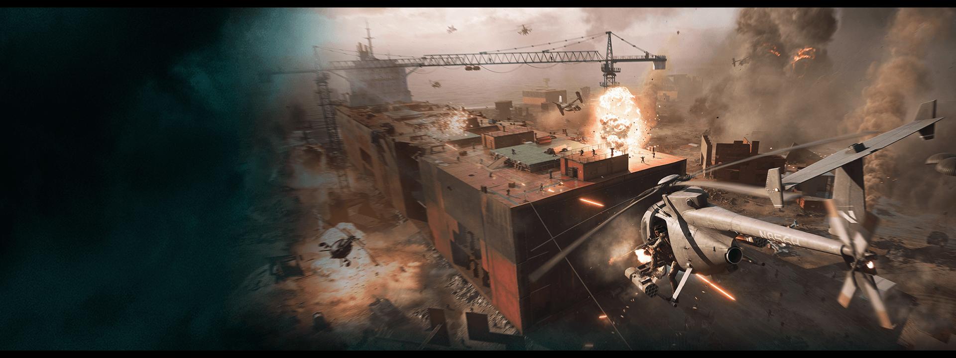 Mannen in helikopters schieten op het dak van een gebouw met explosies rondom.