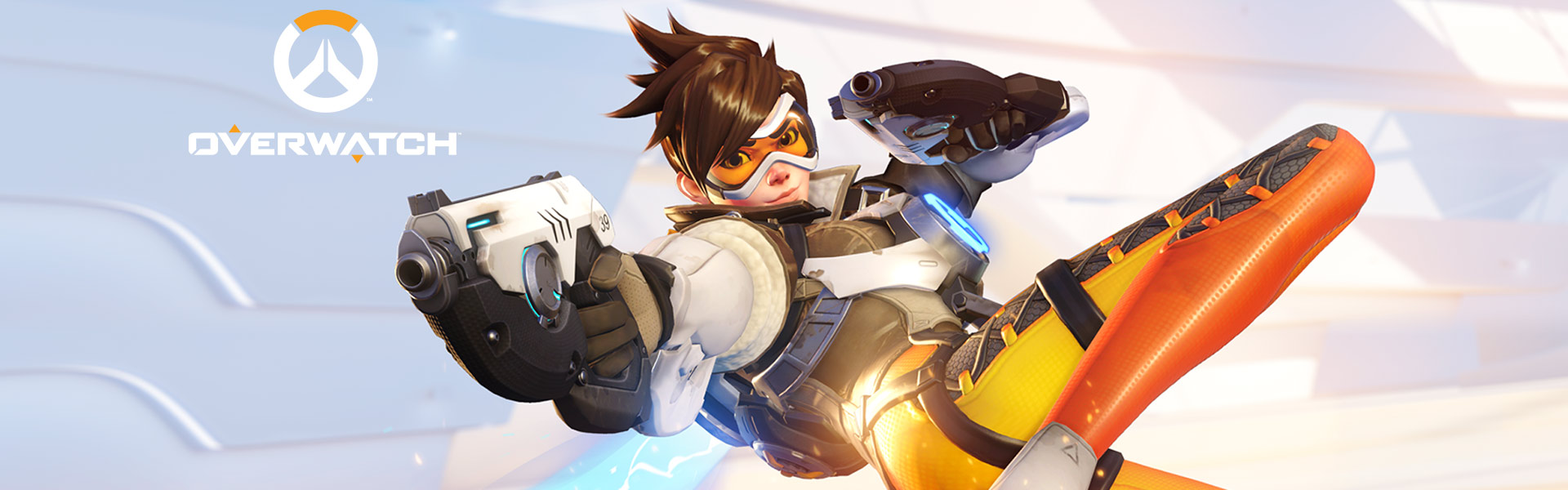 Front view of Overwatch hero Tracer holding her pistols out