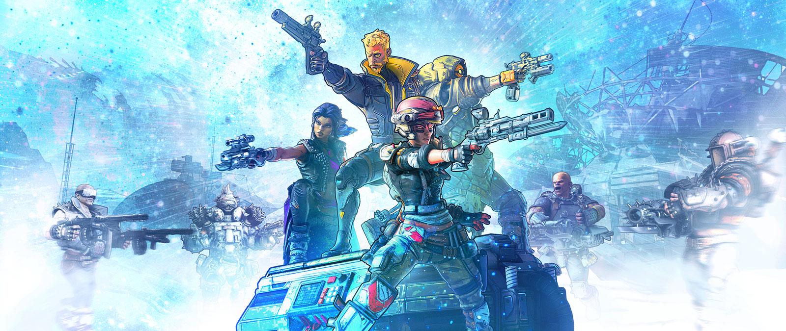 Un grupo de personajes preparados para la batalla apuntan con sus armas.