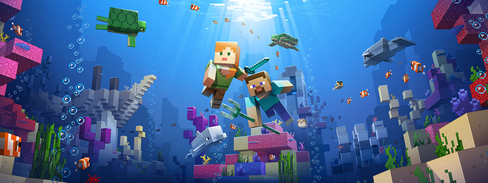 Two Minecraft characters explore an underwater biome