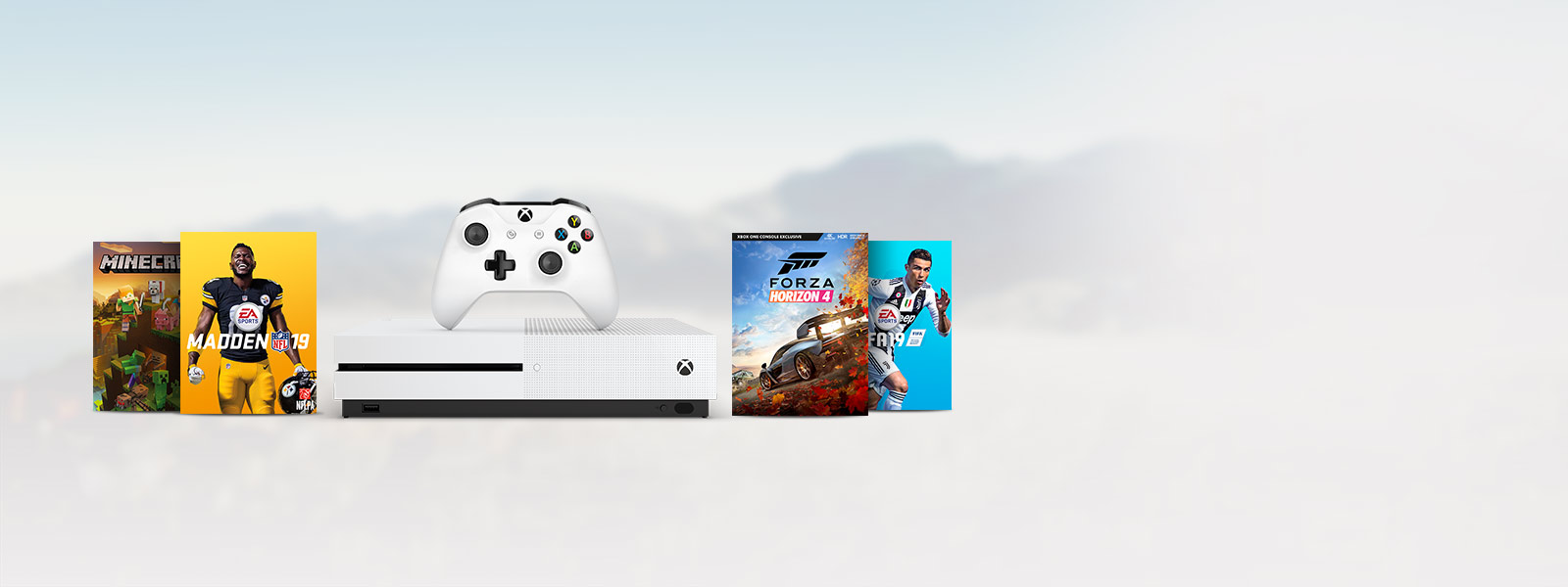 Front view of Xbox One S with Minecraft, Madden 19, Forza Horizon 4, FIFA 19 box art