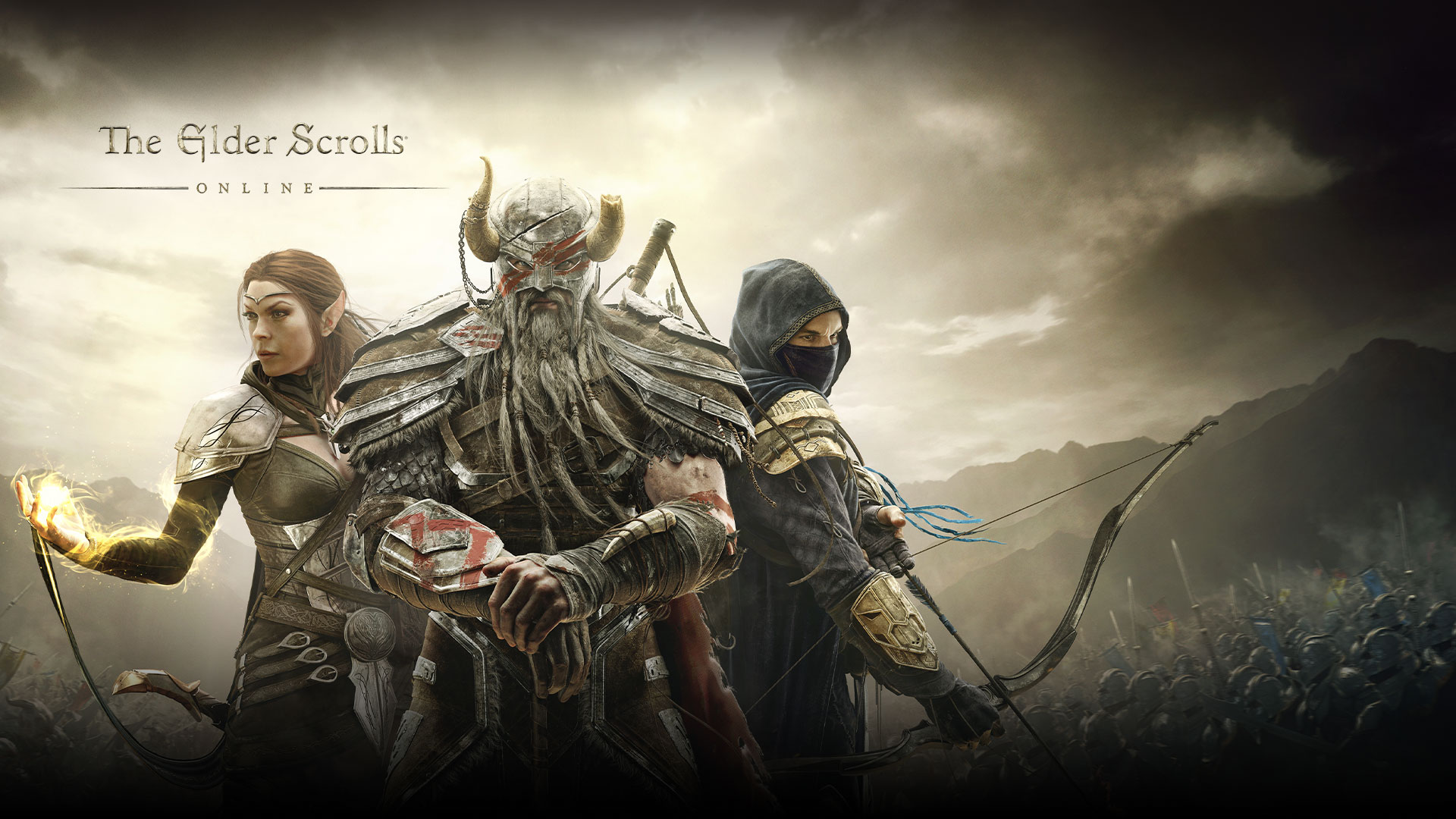 The Elder Scrolls online, three fantasy characters stand ready to fight