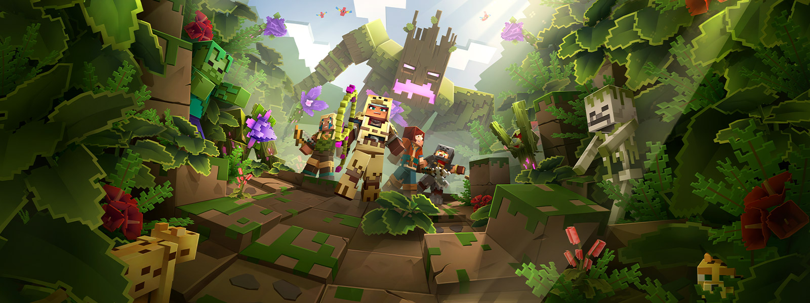 Four Minecraft Dungeons characters in the jungle with a large tree monster behind them