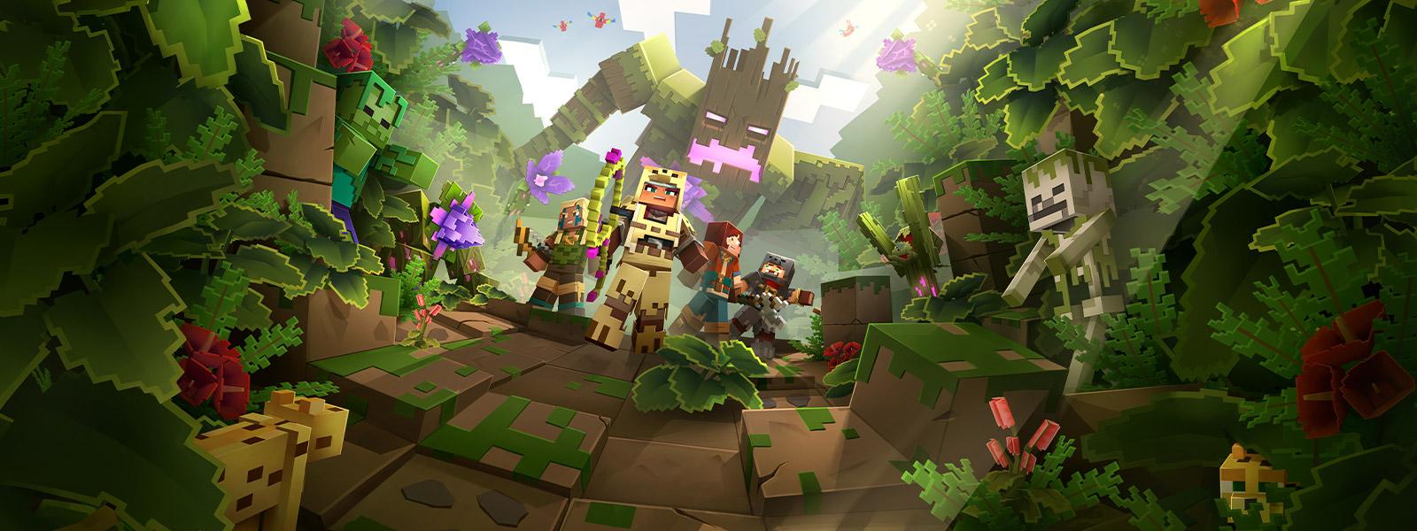 Quatro personagens do Minecraft Dungeons na selva com um grande monstro de árvore atrás delas