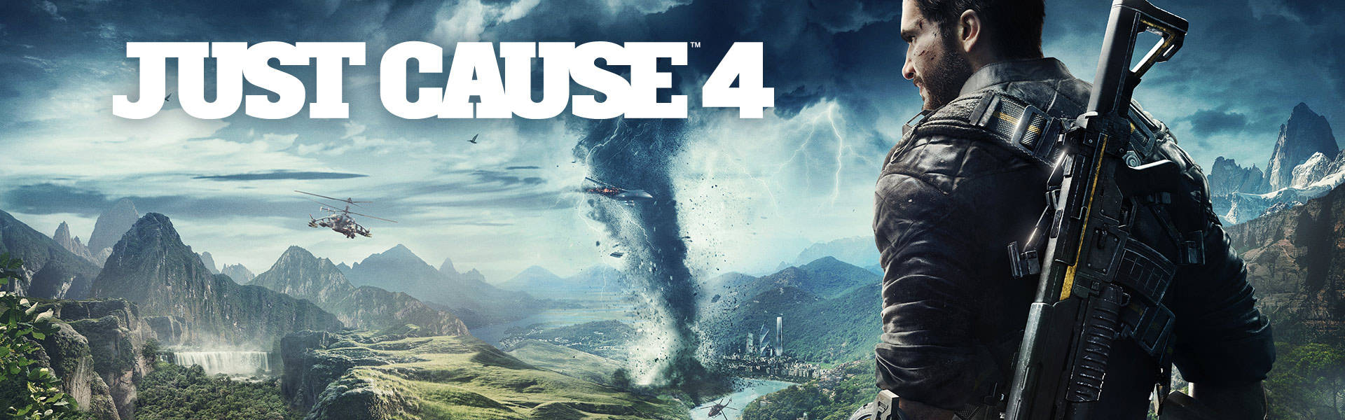 Just Cause 4, Rico Rodriguez stands on a cliff overlooking Solis being ravaged by a tornado