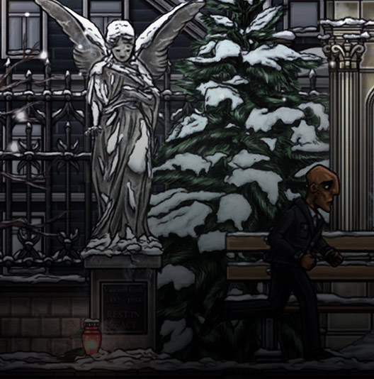 Screenshot from In Between showing a man by an angel statue