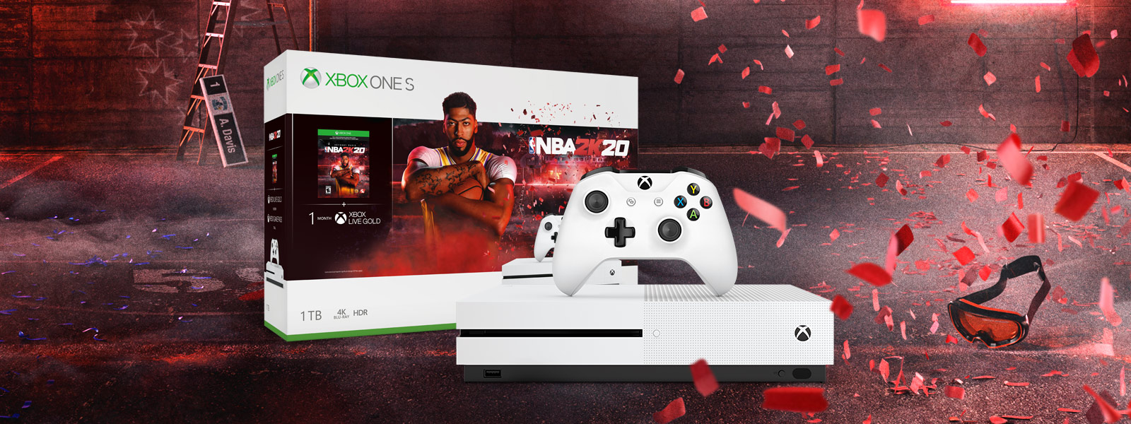 Xbox One S NBA 2K20 bundle art in front of mountains and a road with leaves