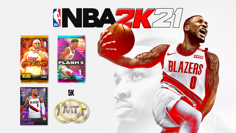 NBA 2K21: Damian Lillard, a NBA Blazers player in a white jersey yells while holding a basketball.