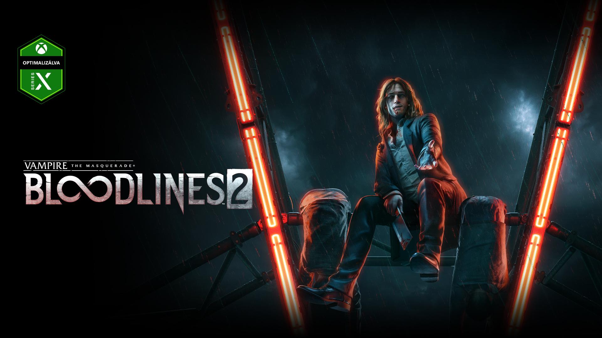 Vampire the Masquerade Bloodlines 2, egy vámpír mosolyog egy óriáskerék küllőjén ülve.
