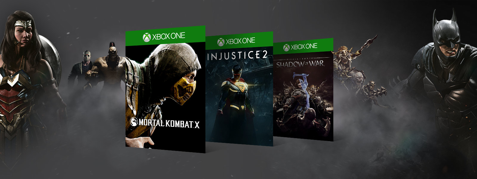 Mortal kombat X, Injustice 2, Shadow of War boxshots in front of various Warner Brothers video game characters
