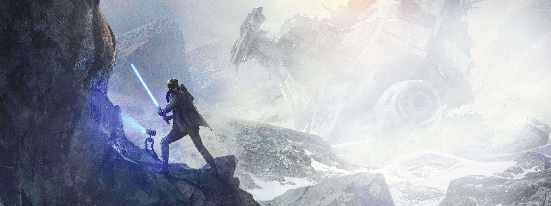 Muž se světelným mečem v rukou stojí na útesu, zatímco droid skenuje symboly na skále