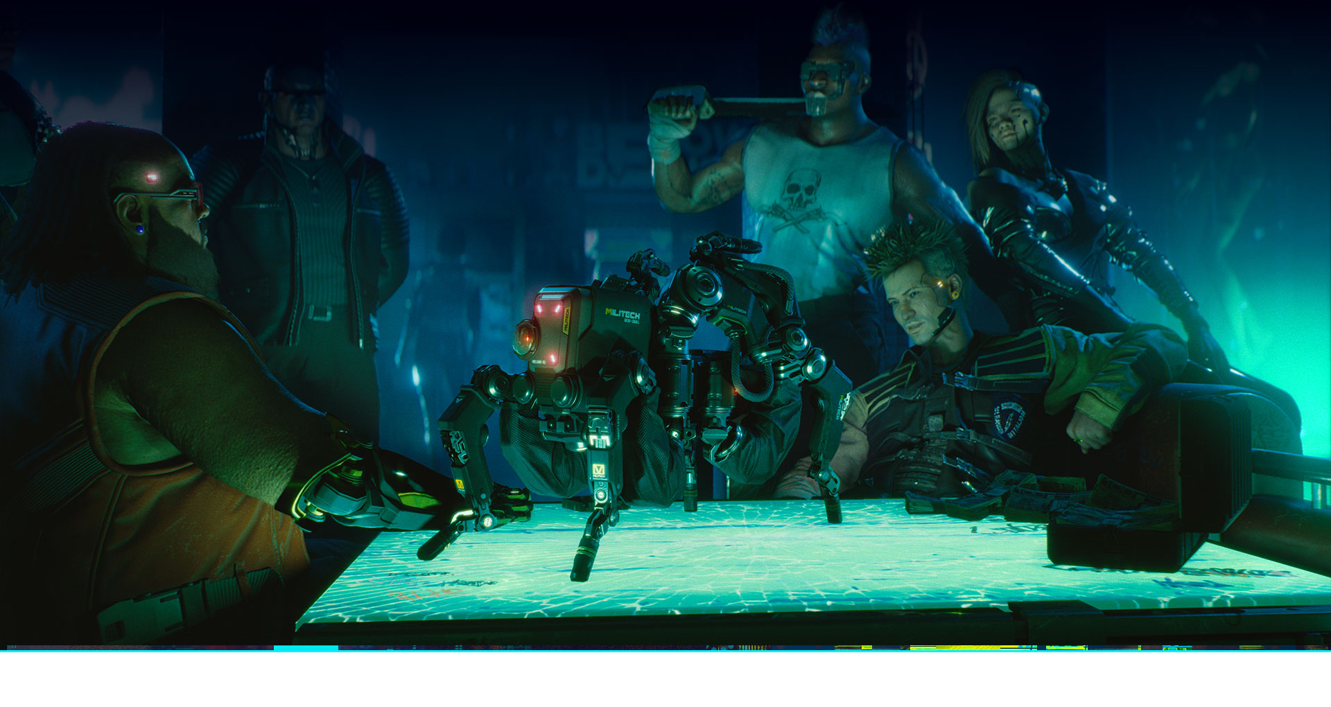 A group of cybernetic humans looking at a spider-like drone on a table
