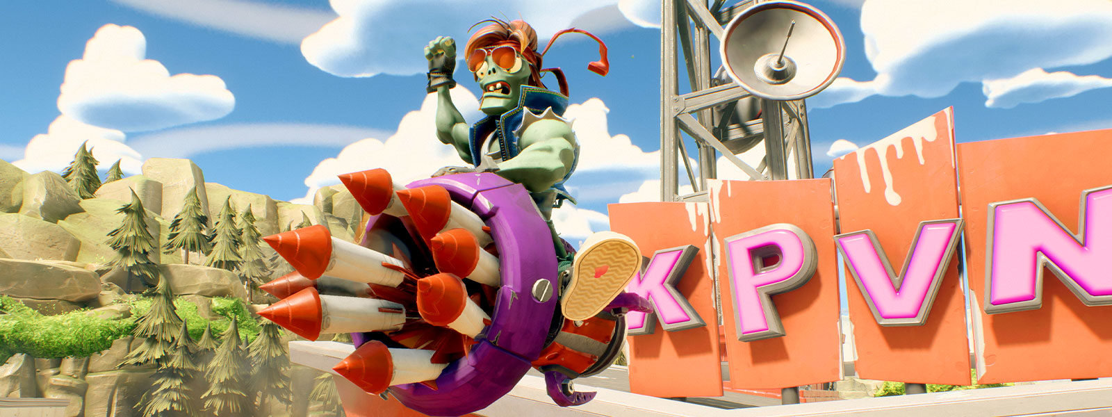 Zombie riding a rocket with many smaller rockets in the air in front of a mountain and tower