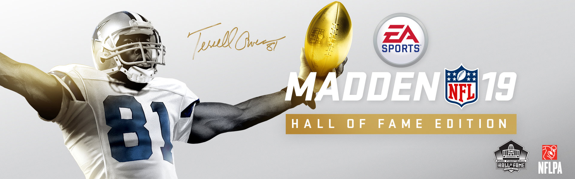 EA Sports, Madden NFL 19 – Hall of Fame Edition, Terrell Owens in Dallas-Trikot mit goldenem Football