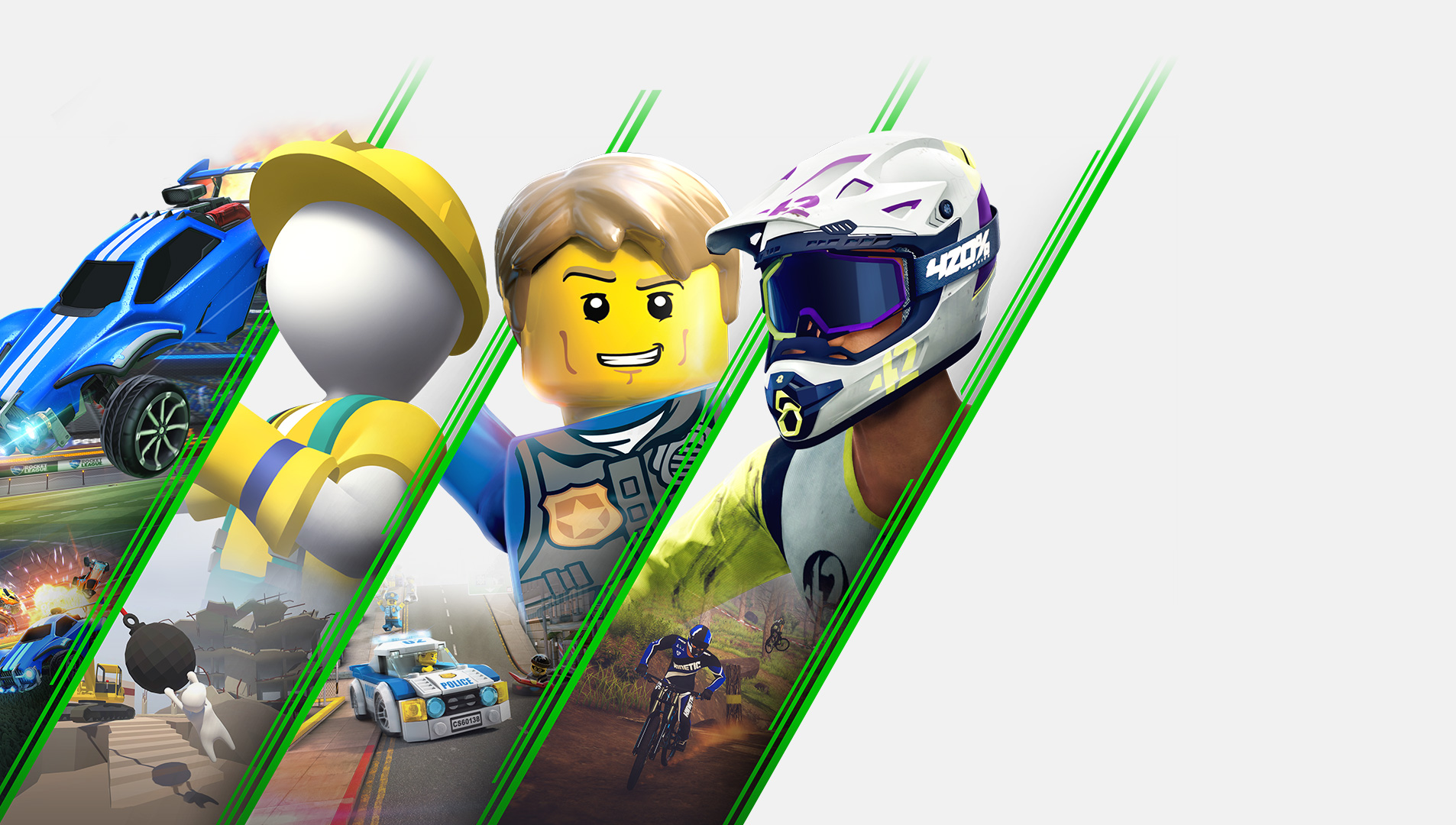 Collage de personnages de Rocket League, Human Fall Flat, Lego City Undercover, Descenders et Guacamelee 2