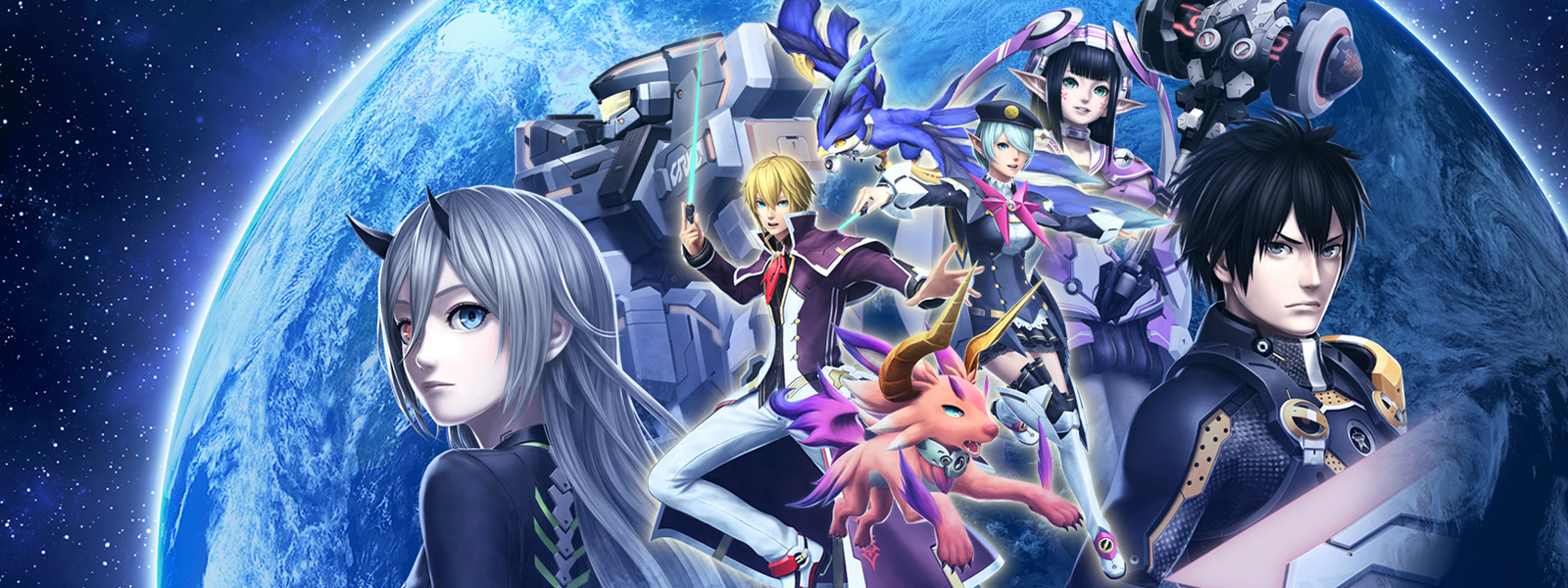 Collage de personnages de Phantasy Star Online 2 sur un fond spatial.