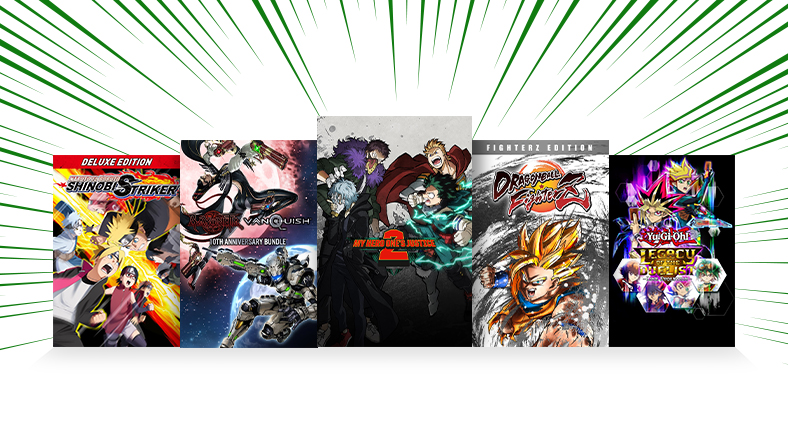 A collection of games that are part of the Anime Month Sale.