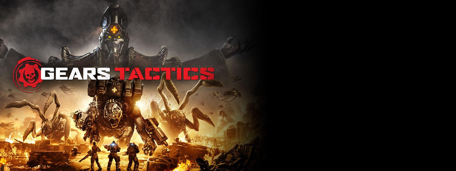 Logo de Gears Tactics, escena de tres personajes que van a luchar contra varios monstruos grandes, mientras el área a su alrededor está en llamas