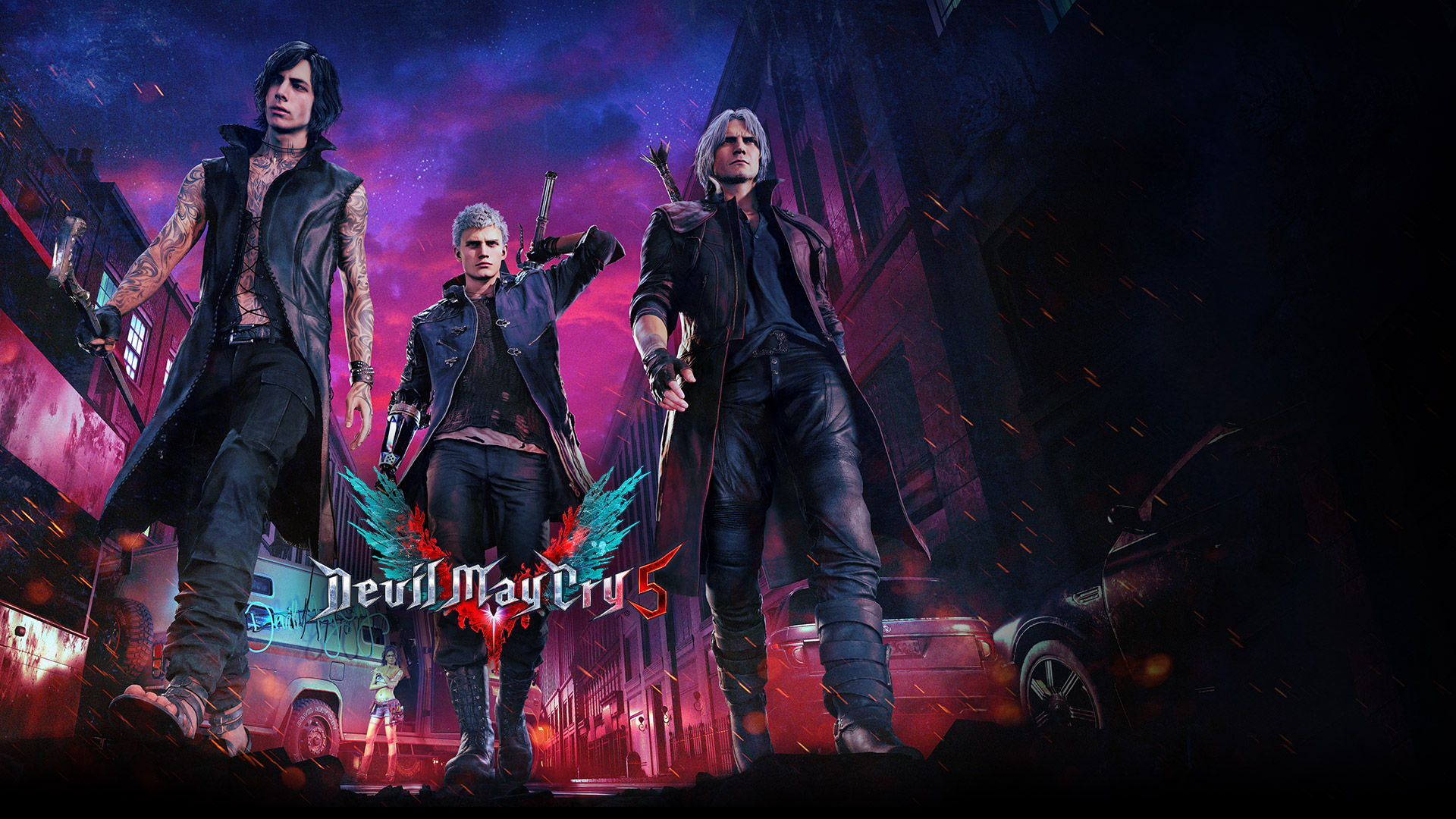 Devil May Cry 5, Demon hunters Nero, Dante and V walk down a street
