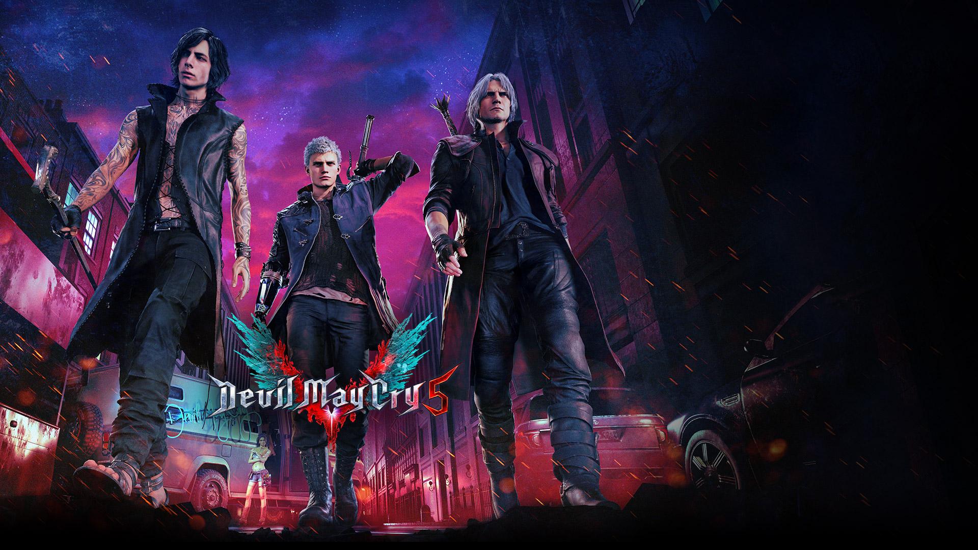 Devil May Cry5, chasseur de démons Nero, Dante, et V déambulant dans une rue