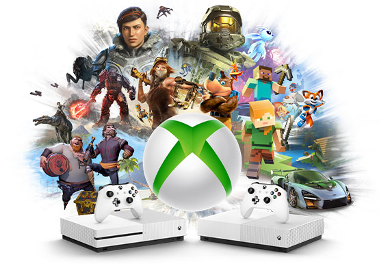 Xbox All Access logo infront of Xbox Characters