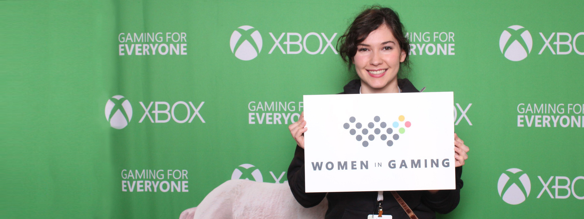 Gaming graphics and Women in Gaming logo spelling out the text