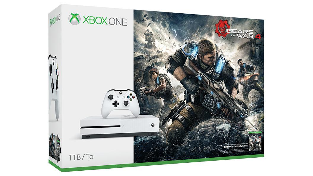 Zdjęcie opakowania zestawu Xbox One S Gears of War 4 z dyskiem 1TB