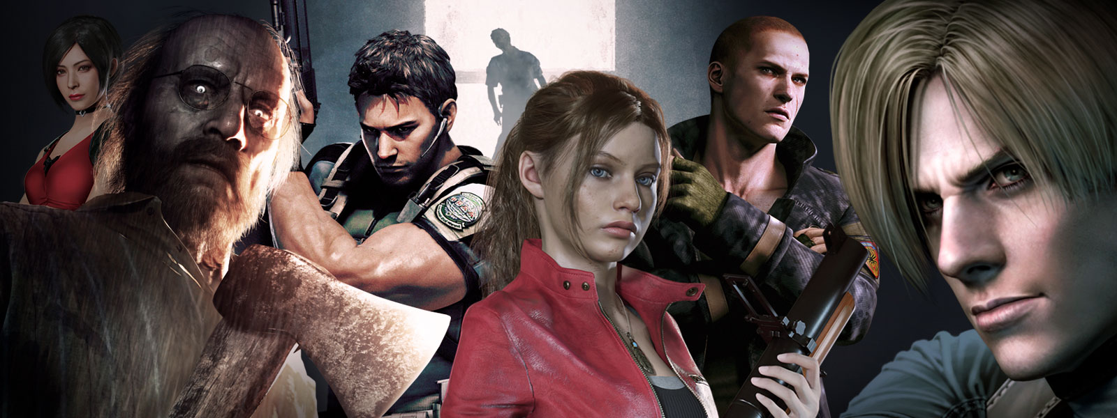 A collage of characters from Resident Evil titles on sale, including RESIDENT EVIL 2, RESIDENT EVIL 7: Biohazard, and Resident Evil Triple Pack.