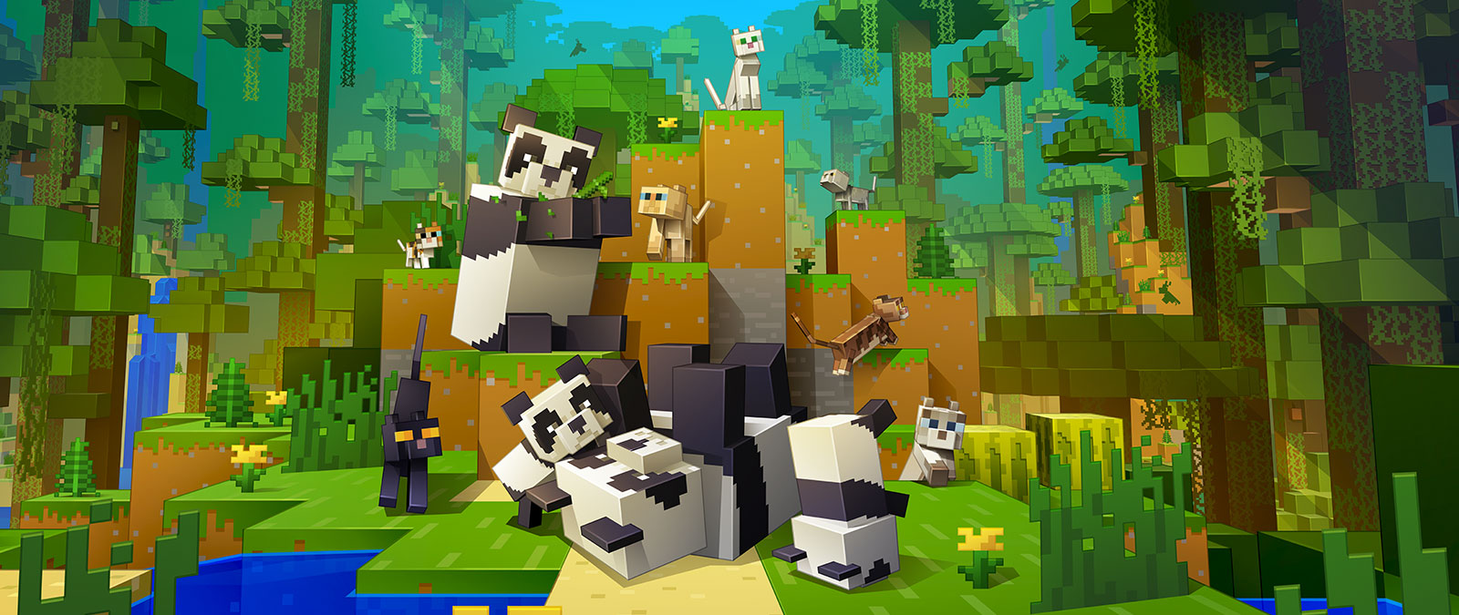 Image of Minecraft cats and pandas playing together