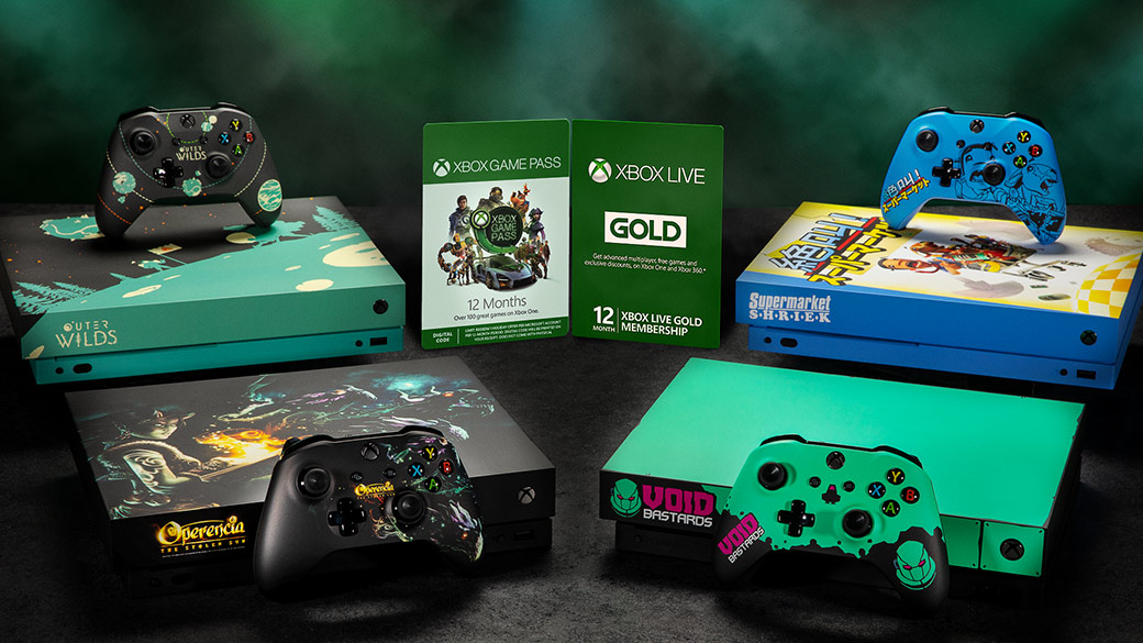 Xbox Game Pass and Xbox Live Gold gift cards, surrounded by four custom Xbox One consoles and controllers: Outer Wilds, Operencia the stolen sun, Supermarket Shriek, and Void Bastards