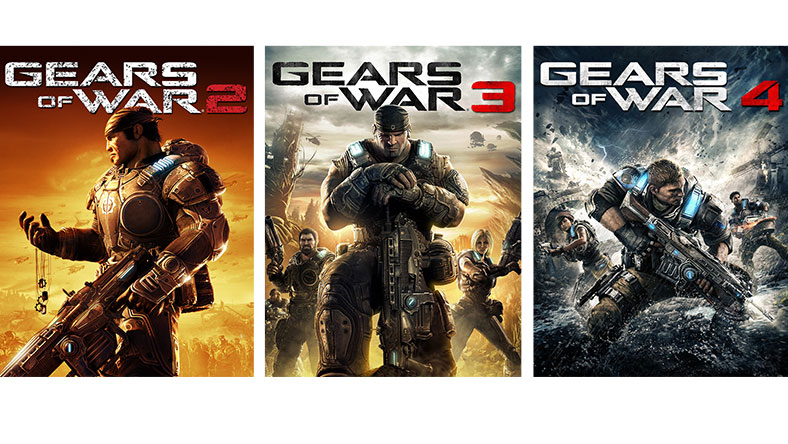 Gears of War 2, 3, and 4 game box shot
