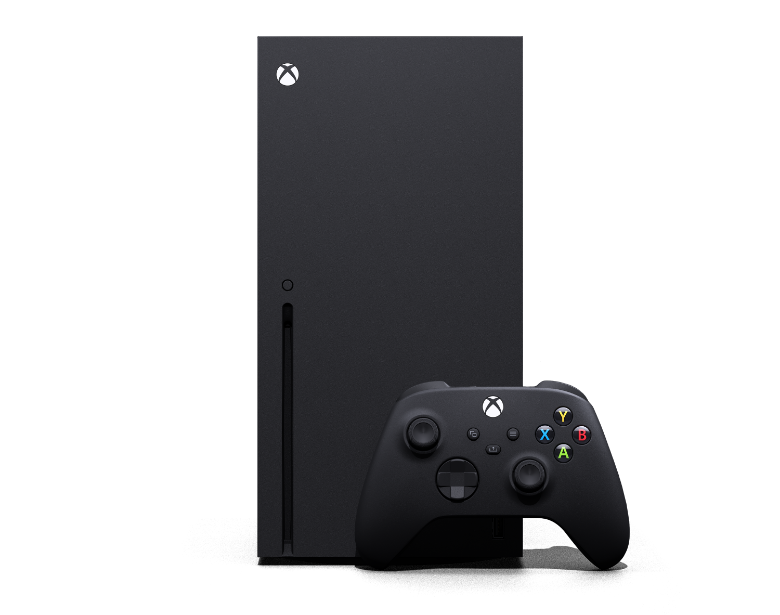 Front of the Xbox Series X with Xbox Wireless Controller
