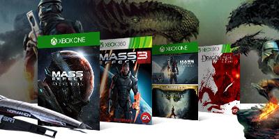 Mass Effect Andromeda, Mass Effect 3, Mass Effect and Dragon Age Inquistition bundle and Dragon Age Origins box shots