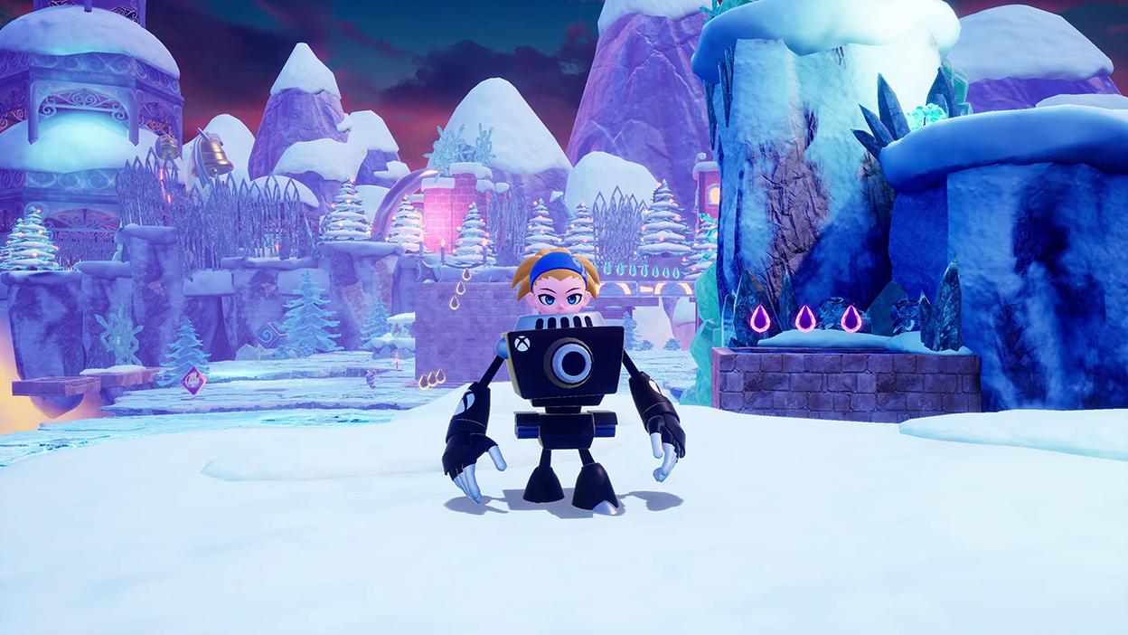 Ein Charakter, der einen Roboteranzug mit Xbox-Beschriftung trägt, steht in einer gefrorenen Landschaft.