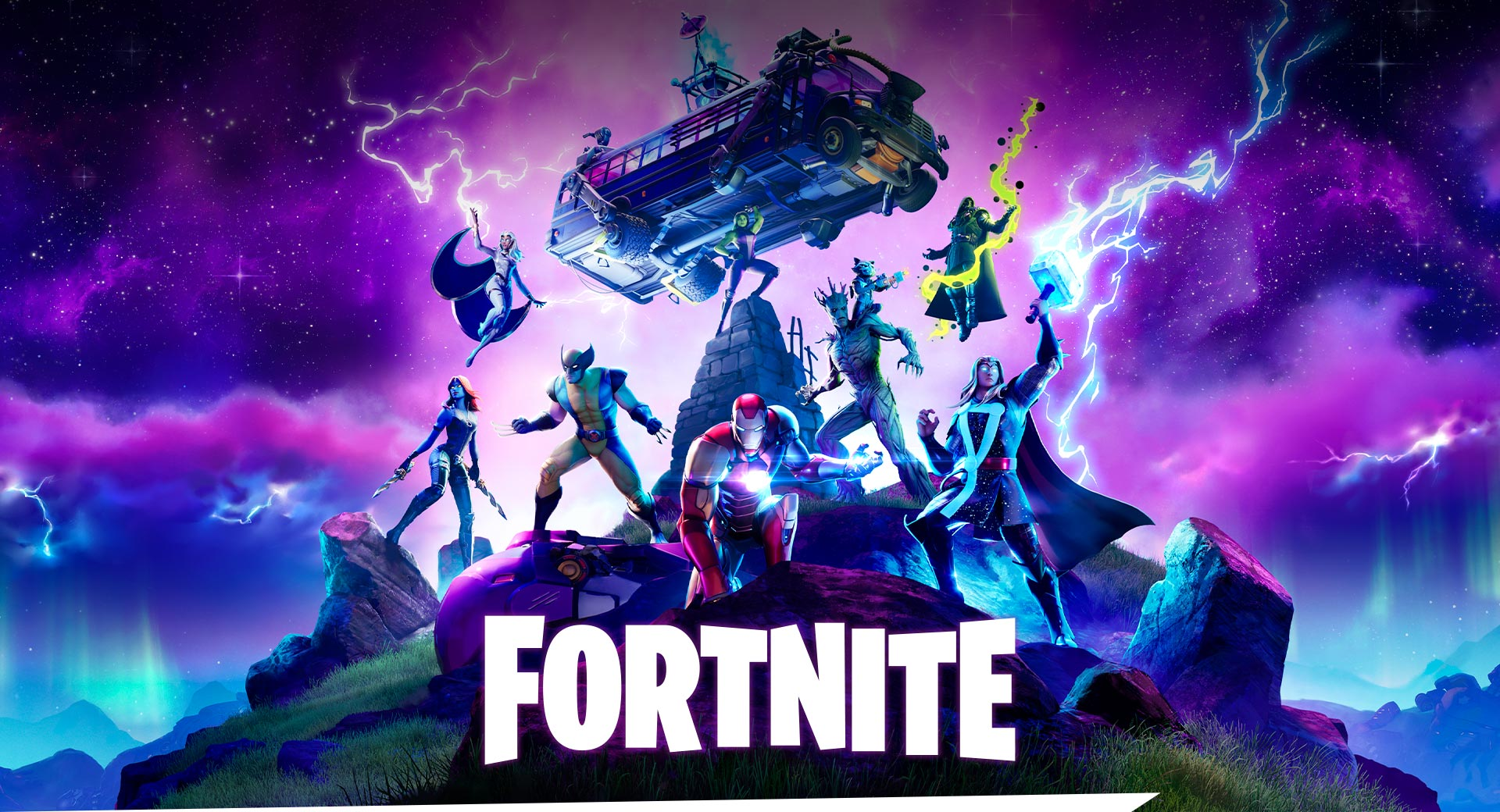 Fortnite, Marvel characters are surrounded by purple lightning as they prepare for battle on a mountaintop.