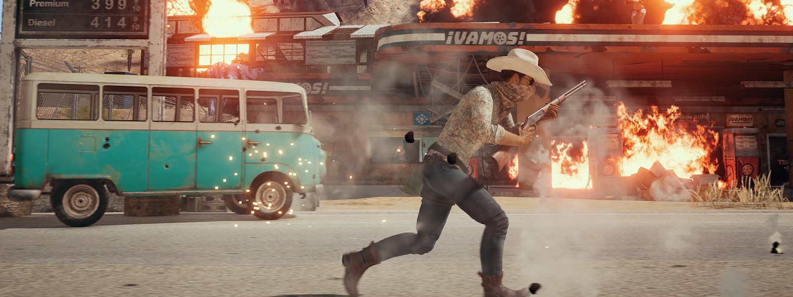 A man in a cowboy outfit holding a rifle running infront of exploding buildings