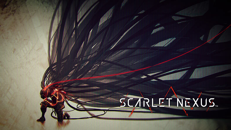 SCARLET NEXUS. A figure kneels on the ground. A frenzy of long wires is connected to the back of its head.