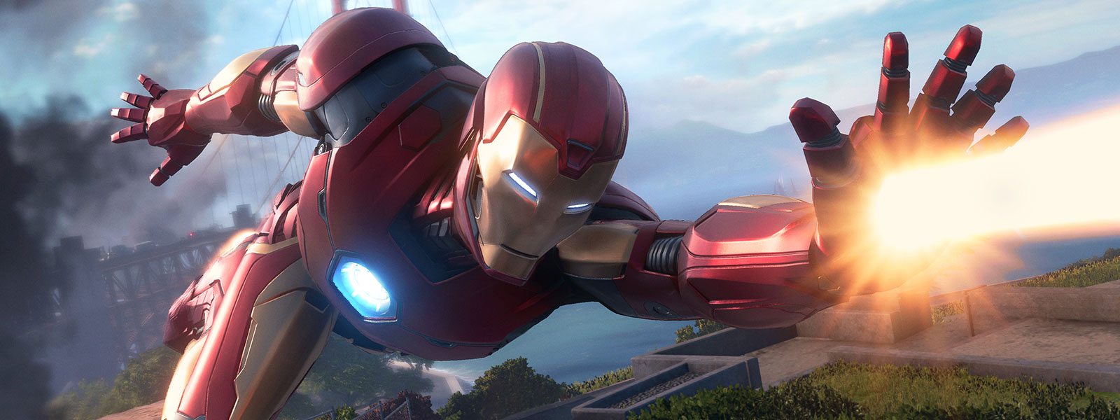 Iron Man flying and shooting a laser from his hand