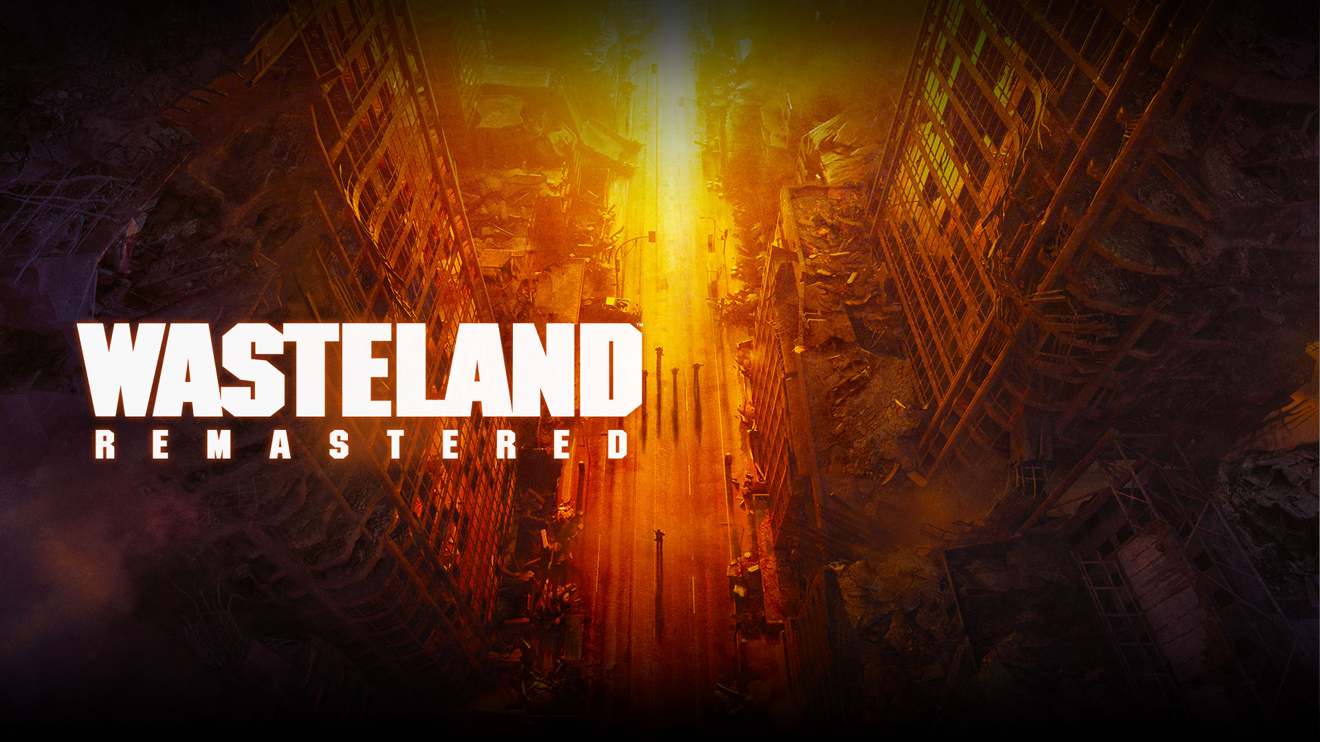 Wasteland Remastered, top view of ruined buildings and people on the street in yellow, orange, and red hues