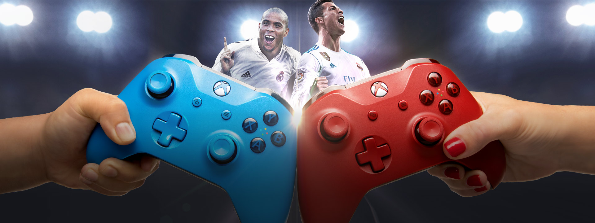 People holding a Blue and Red Xbox controller with the Ronaldo's from Real Madrid