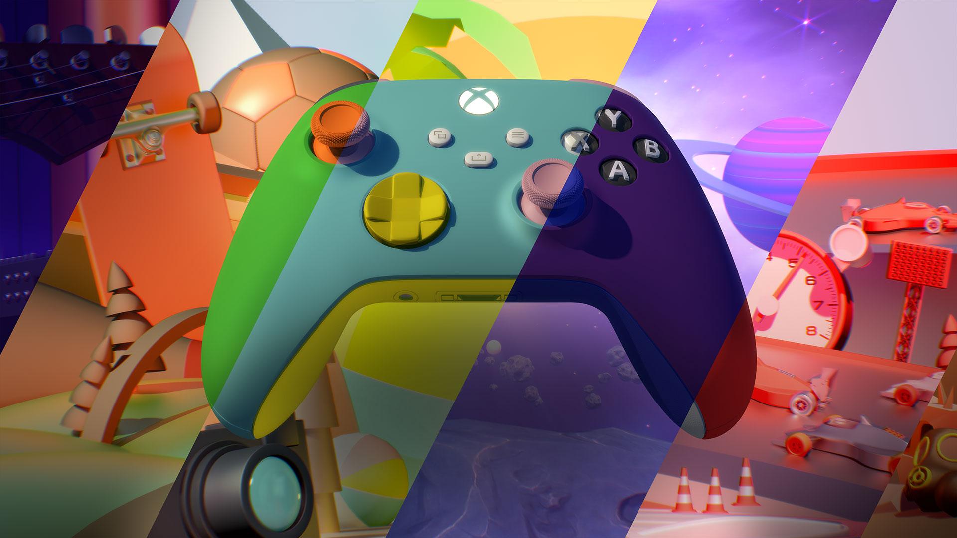 Représentation artistique de mains montrant une manette sans fil personnalisée Xbox Design Lab
