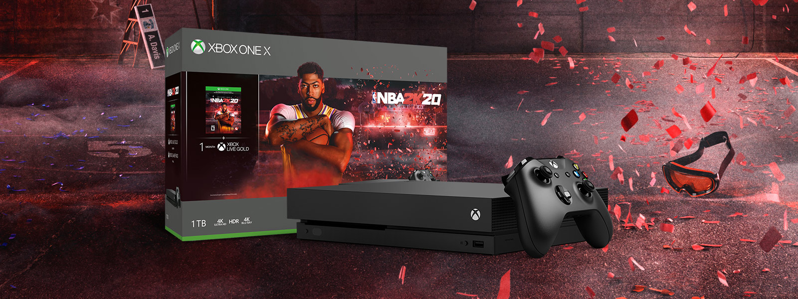 Xbox One X NBA 2K20 bundle art in front of a background with an outdoor basketball court and red confetti