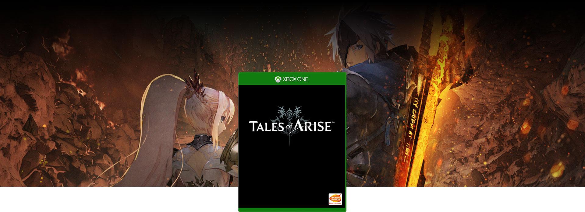 Obrázok balenia hry Tales of Arise, ženská a mužská postava pozerajúca sa späť s dvoma mečmi, z ktorých jeden žiari na oranžovo