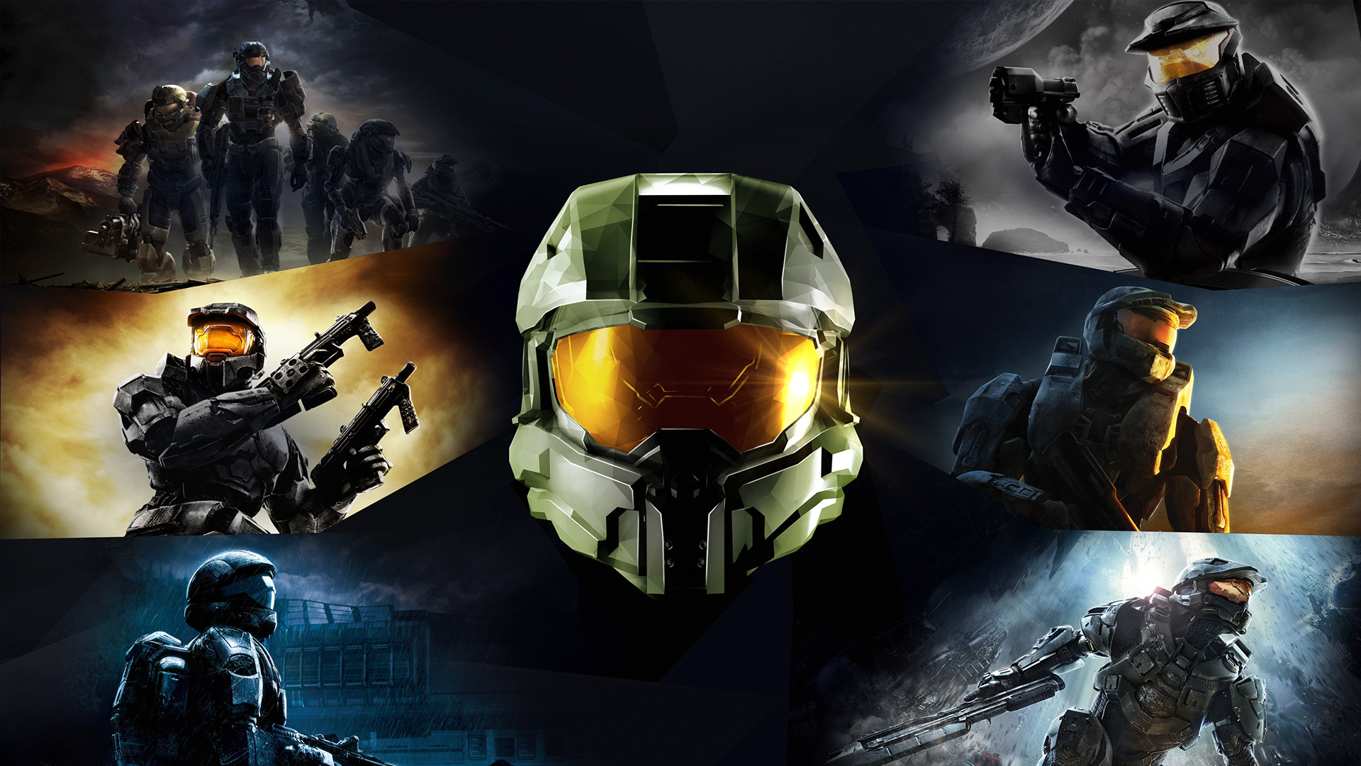Game art for Halo: The Master Chief Collection, showing Master Chief in various Halo games